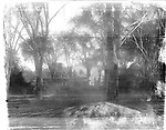 Frederick Stone negative. Merriman Homestead and Trinity Church from The Green.