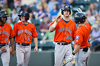 Kyle Tucker (30) of the Buies Creek Astros is congratulated by teammate Ryne Birk (4) after hitting a 3-run home run against the Winston-Salem Dash at BB&T Ballpark on April 15, 2017 in Winston-Salem, North Carolina.  The Astros defeated the Dash 13-6.  (Brian Westerholt/Four Seam Images)