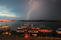 The Danube during a storm in Tulcea. The region of Dobroga, where the biggest linden forest in Europe can be found, is the strip of land, hills and small mountains that branches off from the Danube to the north, just before the delta.
