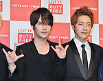 Jihyuk and Yoonhak(Choshinsung, Supernova), Aug 30, 2013 : Tokyo, Japan : Jihyuk(L) and Yunhak of Korean boy band Supernova attend a press conference for new promotion video of Lotte Duty Free shop in Tokyo, Japan, on August 30, 2013.