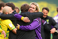 1st May 2021; Carrow Road, Norwich, Norfolk, England, English Football League Championship Football, Norwich versus Reading; Todd Cantwell of Norwich City celebrates winning the EFL Championship with backroom staff