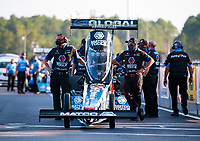 Sep 26, 2020; Gainesville, Florida, USA; Crew members for NHRA top fuel driver Antron Brown during qualifying for the Gatornationals at Gainesville Raceway. Mandatory Credit: Mark J. Rebilas-USA TODAY Sports
