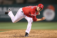 Tyler Chatwood #52 of the Los Angeles Angels pitches against the Cleveland Indians at Angel Stadium in Anaheim,California on April 11, 2011. Photo by Larry Goren/Four Seam Images