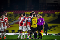 4th November 2020; Vicarage Road, Watford, Hertfordshire, England; English Football League Championship Football, Watford versus Stoke City; Upset Stoke City players speak to the officials at full time.