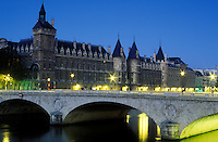 France, Paris, Conciergerie, the Seine River and Pont au Change at dawn, prison used during the French Revolution