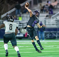 Bladen Fike (5) of Fayetteville throws the ball downfield against LIttle Rock Central at Harmon Stadium, Fayetteville, Arkansas on Friday, November 13, 2020 / Special to NWA Democrat-Gazette/ David Beach