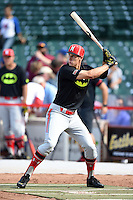 Mitchell Hansen (16) of Plano High School in Plano, Texas during the home run derby before the Under Armour All-American Game on August 16, 2014 at Wrigley Field in Chicago, Illinois.  (Mike Janes/Four Seam Images)