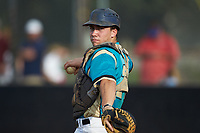 Mooresville Spinners catcher Davis Turner (21) (Lenoir Rhyne) warms up prior to the game against the Lake Norman Copperheads at Moor Park on July 6, 2020 in Mooresville, NC.  The Spinners defeated the Copperheads 3-2. (Brian Westerholt/Four Seam Images)