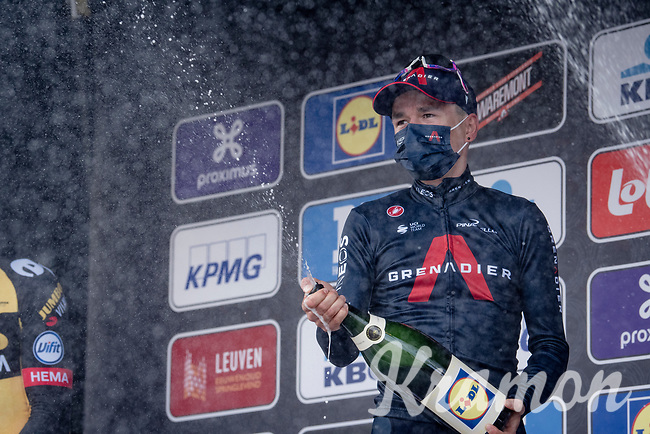 Tom Pidcock (GBR/Ineos Grenadiers) just won the 61st Brabantse Pijl 2021 (1.Pro) & is checking out the Lidl champagne he just got<br /> <br /> 1 day race from Leuven to Overijse (BEL/202km)<br /> <br /> ©kramon
