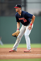 Riverside High grad Caden Grice (16), of the Greer Warhawks, a Clemson commit, plays defense in a South Carolina American League game against the Simpsonville Dawgs on Tuesday, August 11, 2020, at Fluor Field at the West End in Greenville, South Carolina. Greer won, 9-2, winning the second round of playoffs. (Tom Priddy/Four Seam Images)