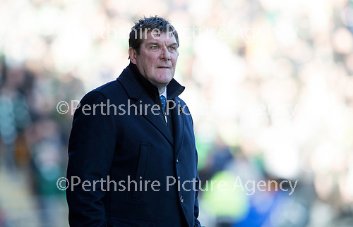 St Johnstone v Celtic…04.11.17…  McDiarmid Park…  SPFL<br />Tommy Wright watches the game<br />Picture by Graeme Hart. <br />Copyright Perthshire Picture Agency<br />Tel: 01738 623350  Mobile: 07990 594431