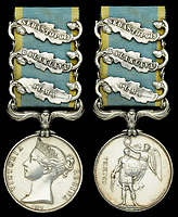 BNPS.co.uk (01202 558833)<br /> Pic: DNW/BNPS<br /> <br /> Pictured: Private Brown's Crimea medal.<br /> <br /> The medals of two men who took place in the doomed Charge of the Light Brigade are expected to sell for over £10,000.<br /> <br /> Private James Gusterson and Private John Brown were among the 600 men who wrote into the 'Valley of Death' in the near-suicidal action immortalised in Alfred Tennyson's famous poem.<br /> <br /> Londoner Pte Gusterson, of the 11th Hussars, was an unlikely participant as he was the camp cook but he volunteered for action at the Battle of Balaklava on October 25, 1854.<br /> <br /> However, he survived the battle, unlike Pte Brown, from Antrim, Ireland, of the 8th Hussars, who was severely wounded and died two months later in a Turkish hospital.<br /> <br /> Pte Brown's Crimea Medal is valued at £7,000, while Pte Gusterson's medal, with Alma, Balaklava and Sebastopol clasps, could go for £3,600 with London-based auctioneers Dix Noonan Webb.