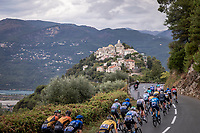 Peloton passing by a picturesque French village<br /> <br /> 107th Tour de France 2020 (2.UWT)<br /> (the 'postponed edition' held in september)<br /> Stage 1 from Nice to Nice 156km<br /> ©kramon