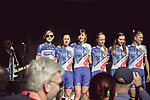 FDJ Nouvelle-Aquitaine Futuroscope at the Team presentation of La Fleche Wallonne Femmes 2018 running 118.5km from Huy to Huy, Belgium. 17/04/2018.<br /> Picture: ASO/Thomas Maheux | Cyclefile.<br /> <br /> All photos usage must carry mandatory copyright credit (© Cyclefile | ASO/Thomas Maheux)