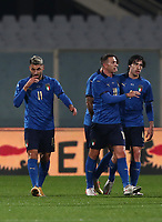 FBL- Friendly  football match Italy vs Estonia at the Artemio Franchi stadium in Florence on November 11, 2020.<br /> Italy's Vincenzo Grifo (l) celebrates after scoring with his teammates duringthe friendly football match between Italy snd Estonia at the Artemio Franchi stadium in Florence on November 11, 2020. <br /> UPDATE IMAGES PRESS/Isabella Bonotto