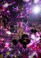 """Installation called """"Floating in the Falling Universe of Flowers"""" in Team Lab Planets, Tokyo, Japan, July-2019.  The installation and digital museum is one of the most popualr tourist attractions in Japan."""