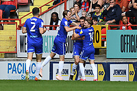 Owen Evans of Cheltenham FC scores the first Goal and celebrates during Charlton Athletic vs Cheltenham Town, Sky Bet EFL League 1 Football at The Valley on 11th September 2021