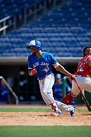 Toronto Blue Jays Luis De Los Santos (1) during an Instructional League game against the Philadelphia Phillies on September 17, 2019 at Spectrum Field in Clearwater, Florida.  (Mike Janes/Four Seam Images)