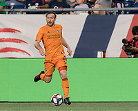 FOXBOROUGH, MA - JUNE 29: Tommy McNamara #11 on the attack during a game between Houston Dynamo and New England Revolution at Gillette Stadium on June 29, 2019 in Foxborough, Massachusetts.