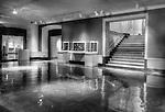 Dayton Art Institute black and white interior of gallery, lobby area. DAI interior.