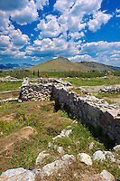 Palace of Acropolis area of Tiryns (  or ) Mycenaean city archaeological site,  Peloponnesos, Greece. A UNESCO World Heritage Site