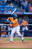 St. Lucie Mets shortstop Luis Carpio (11) at bat during a game against the Daytona Tortugas on August 3, 2018 at First Data Field in Port St. Lucie, Florida.  Daytona defeated St. Lucie 3-2.  (Mike Janes/Four Seam Images)