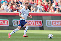 SANDY, UT - JUNE 10: Jackson Yueill #14 of the United States looks for an open man downfield during a game between Costa Rica and USMNT at Rio Tinto Stadium on June 10, 2021 in Sandy, Utah.