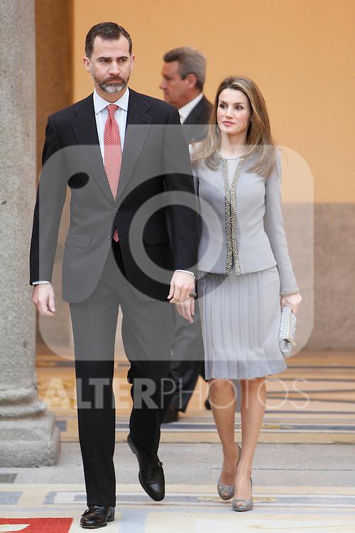 Prince Felipe of Spain and Princess Letizia of Spain attend the National Awards of Culture 2011 and 2012 at Palacio de El Pardo. February 19, 2013. (ALTERPHOTOS/Caro Marin)
