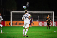 LAKE BUENA VISTA, FL - JULY 23: Nick Depuy #20 of the LA Galaxy heads the ball during a game between Los Angeles Galaxy and Houston Dynamo at ESPN Wide World of Sports on July 23, 2020 in Lake Buena Vista, Florida.