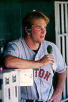 Derek Lowe of the Boston Red Sox plays in a baseball game at Edison International Field during the 1998 season in Anaheim, California. (Larry Goren/Four Seam Images)