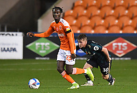 Blackpool's Cameron Antwi battles with Leeds United's Joseph Gelhardt<br /> <br /> Photographer Dave Howarth/CameraSport<br /> <br /> EFL Trophy - Northern Section - Group G - Blackpool v Leeds United U21 - Wednesday 11th November 2020 - Bloomfield Road - Blackpool<br />  <br /> World Copyright © 2020 CameraSport. All rights reserved. 43 Linden Ave. Countesthorpe. Leicester. England. LE8 5PG - Tel: +44 (0) 116 277 4147 - admin@camerasport.com - www.camerasport.com