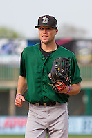 Clinton LumberKings outfielder Braden Bishop (9) prior to a Midwest League game against the Wisconsin Timber Rattlers on May 9th, 2016 at Fox Cities Stadium in Appleton, Wisconsin.  Clinton defeated Wisconsin 6-3. (Brad Krause/Four Seam Images)