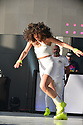 MIRAMAR, FLORIDA - MAY 22: Dancer Miosotis performs live on stage with Nelson Rego during the 80 Reunion Freestyle Concert at The Miramar Amphitheater at Regional Park on May 22, 2021 in Miramar, Florida. ( Photo by Johnny Louis / jlnphotography.com )