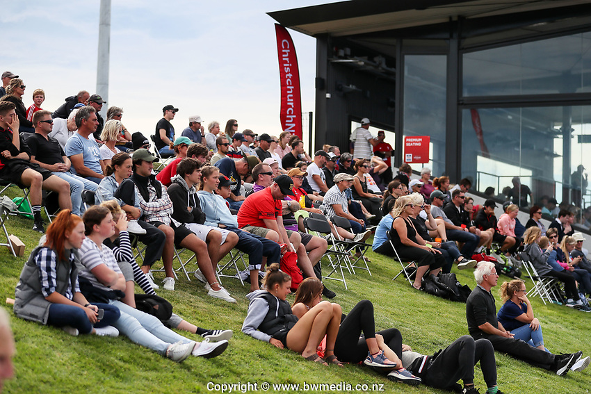 Spectators during the Pro League Hockey match between the Blacksticks women and the USA, Nga Punawai, Christchurch, New Zealand, Sunday 16 February 2020. Photo: Simon Watts/www.bwmedia.co.nz