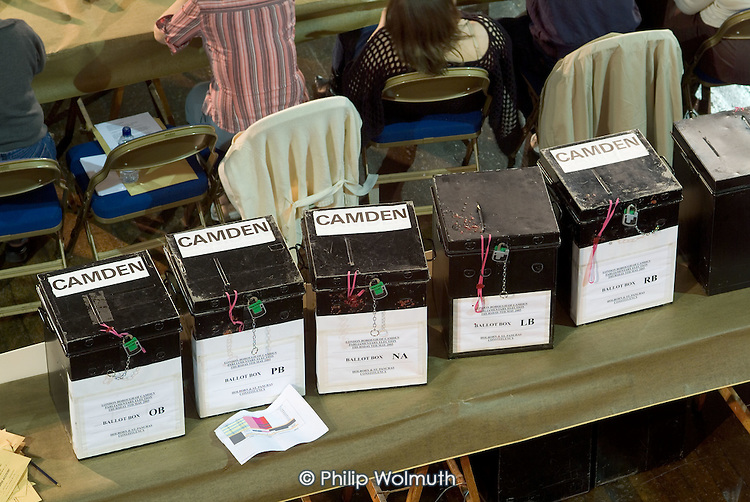 Unopened ballot boxes at Camden Town Hall on the night of the 2005 General Election.