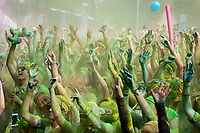 Crowd Celebrating at Color Run Music Concert, Seattle Center, Washington State, WA, America, USA.