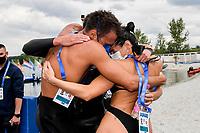 PALTRINIERI Gregorio, ACERENZA Domenico, GABBRIELLESCHI Giulia ITA Celebration Gold Medal<br /> Team Event 5 km <br /> Open Water<br /> Budapest  - Hungary  15/5/2021<br /> Lupa Lake<br /> XXXV LEN European Aquatic Championships<br /> Photo Andrea Staccioli / Deepbluemedia / Insidefoto