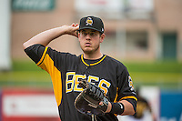 C.J. Cron (38) of the Salt Lake Bees before the game against the Oklahoma City Dodgers in Pacific Coast League action at Smith's Ballpark on May 27, 2015 in Salt Lake City, Utah.  (Stephen Smith/Four Seam Images)