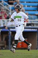 Jamestown Jammers designated hitter Danny Collins #36 approaches home after hitting a home run during a game against the Williamsport Crosscutters on June 20, 2013 at Russell Diethrick Park in Jamestown, New York.  Jamestown defeated Williamsport 12-6.  (Mike Janes/Four Seam Images)