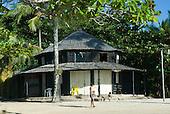 Praia da Concha, Itacare, Bahia State, Brazil. Picturesque circular beach hut with shingle roof.