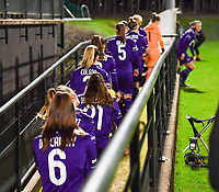 illustration picture showing the players of Anderlecht entering the pitch during a female soccer game between RSC Anderlecht Dames and Sporting Charleroi on the 13 th matchday of the 2020 - 2021 season of Belgian Womens Super League , friday 5 th of February 2021  in Tubize , Belgium . PHOTO SPORTPIX.BE | SPP | DAVID CATRY