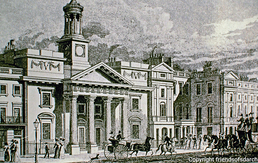 St. Philip's Chapel. Built by George Stanley Repton in 1819-1820 and demolished in 1904. A steel engraving with hand colouring by<br />