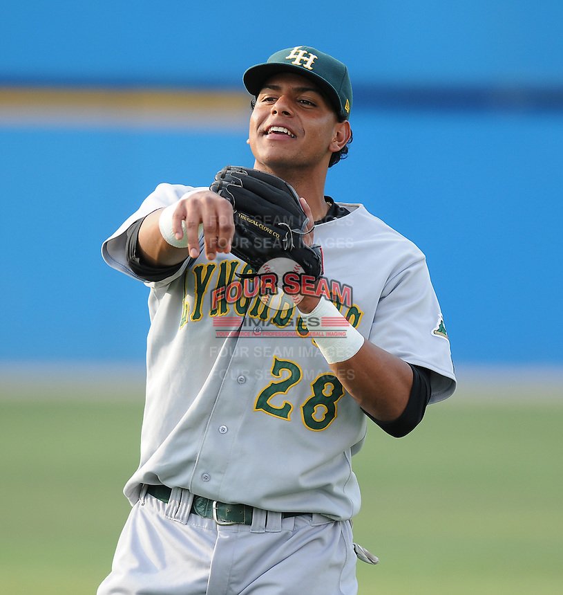 July 16, 2009: Infielder Angel Gonzalez (28) of the Lynchburg Hillcats, Carolina League affiliate of the Pittsburgh Pirates, in a game at G. Richard Pfitzner Stadium in Woodbridge, Va. Photo by: Tom Priddy/Four Seam Images