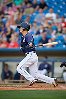 Lake County Captains shortstop Luke Wakamatsu (12) follows through on a swing during the second game of a doubleheader against the West Michigan Whitecaps on August 6, 2017 at Classic Park in Eastlake, Ohio.  West Michigan defeated Lake County 9-0.  (Mike Janes/Four Seam Images)