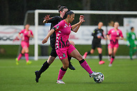 Magaly Guiteras Osma (28) of Woluwe  and Jessica Silva Valdebenito (18) of Sporting Charleroi in action during a female soccer game between Sporting Charleroi and White Star Woluwe on the 7 th matchday in play off 2 of the 2020 - 2021 season of Belgian Scooore Womens Super League , friday 14 th of May 2021  in Marcinelle , Belgium . PHOTO SPORTPIX.BE | SPP | Sevil Oktem
