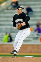 Wake Forest Demon Deacons relief pitcher Colin Egan (44) in action against the North Carolina Tar Heels at Wake Forest Baseball Park on March 9, 2013 in Winston-Salem, North Carolina.  The Tar Heels defeated the Demon Deacons 20-6.  (Brian Westerholt/Four Seam Images)