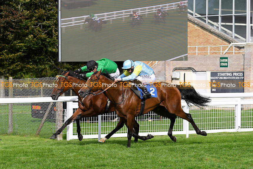 Winner of The Radcliffe & Co Novice Median Auction Stakes (Div 1) Tornadic (rails) ridden by Charles Bishop and trained by Eve Johnson Houghton  during Horse Racing at Salisbury Racecourse on 11th September 2020