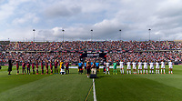 EAST HARTFORD, CT - JULY 5: The USWNT and Mexico stand during the national anthem during a game between Mexico and USWNT at Rentschler Field on July 5, 2021 in East Hartford, Connecticut.