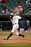 Montgomery Biscuits catcher Justin O'Conner (5) at bat during a game against the Jackson Generals on April 29, 2015 at Riverwalk Stadium in Montgomery, Alabama.  Jackson defeated Montgomery 4-3.  (Mike Janes/Four Seam Images)