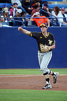 Alec Bohm (18) of the Wichita State Shockers makes a throw during a game against the Cal State Fullerton Titans at Goodwin Field on March 13, 2016 in Fullerton, California. Cal State Fullerton defeated Wichita State, 7-1. (Larry Goren/Four Seam Images)